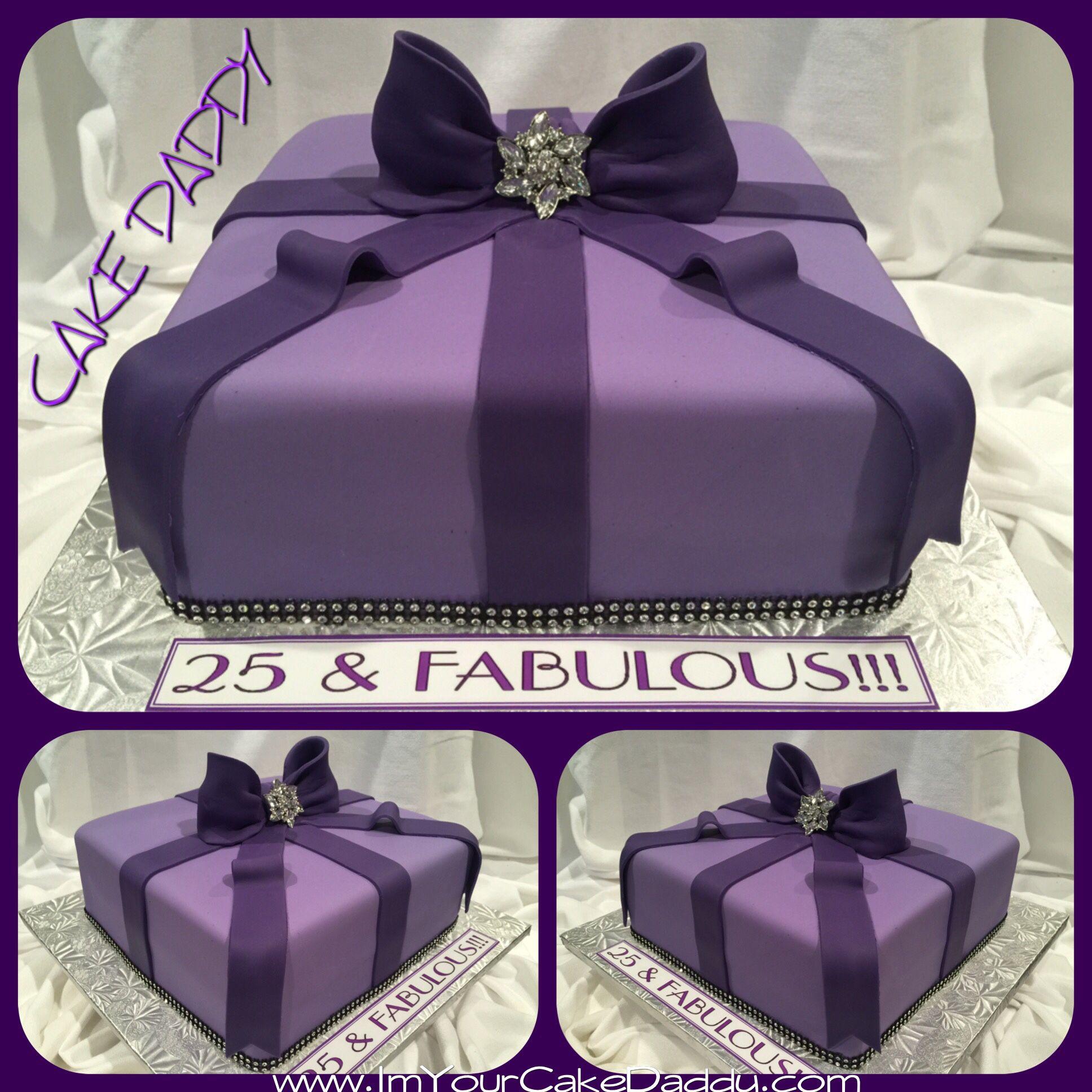 Purple gift box birthday cake. Gift box birthday, Purple