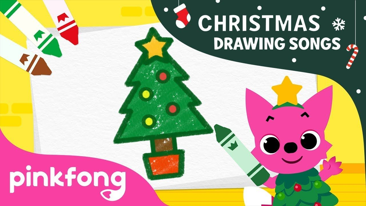 How To Draw A Christmas Tree Christmas Drawing Songs Pinkfong Songs For Children Christmas Tree Drawing Christmas Drawing Christmas Lettering
