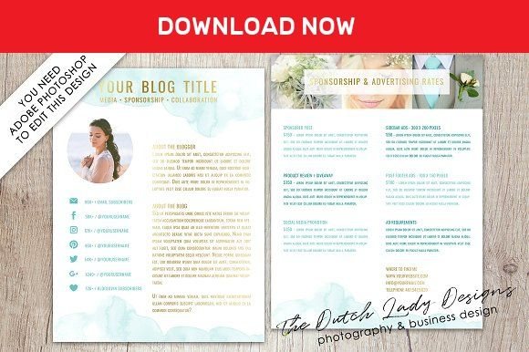 PSD Media Kit / Resume Template #2 by The Dutch Lady Designs on