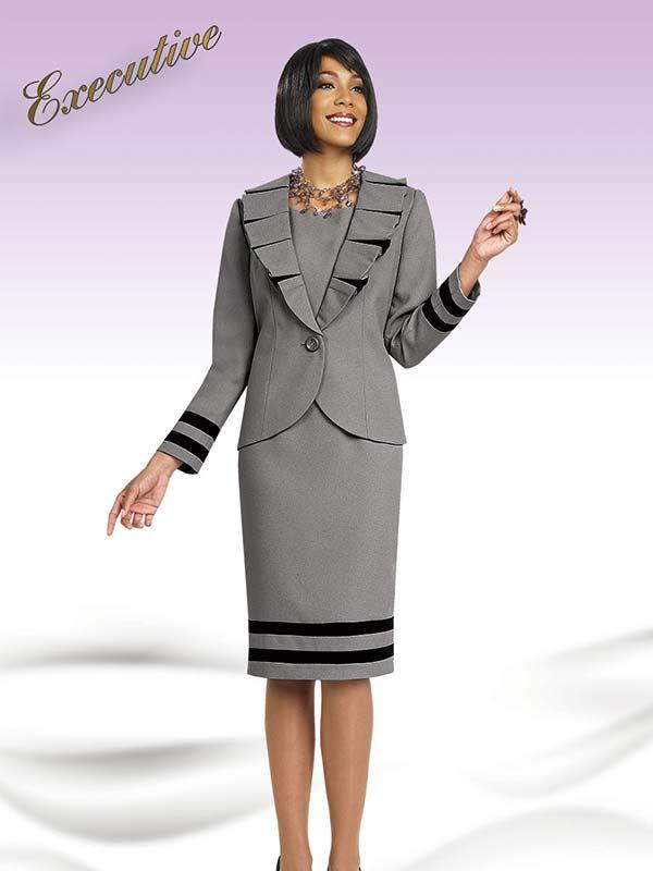 Ben Marc Executive 11450 Ladies Pleated Lapel Dress & Jacket Set ...