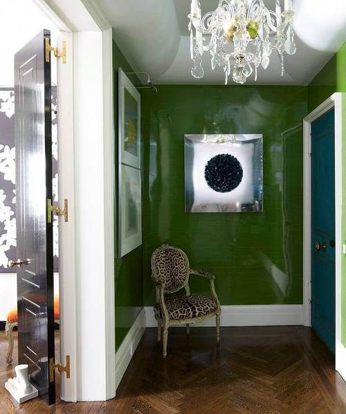 Todd Romano Foyer Entry Hallway Green Lacquer Walls