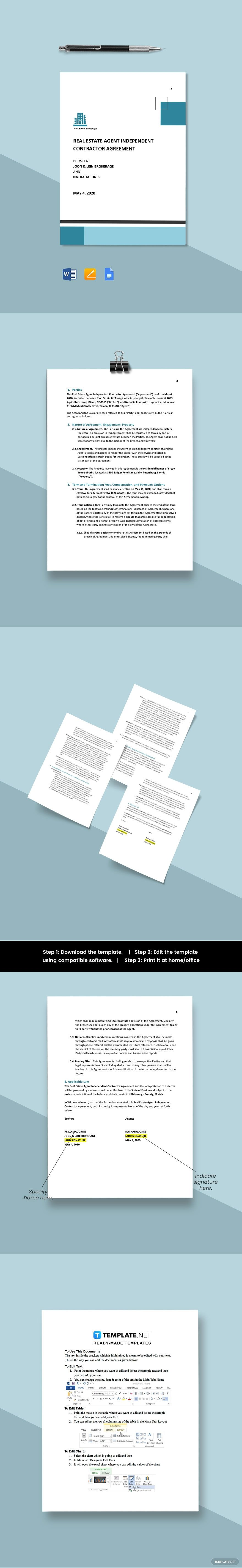 Real Estate Agent Independent Contractor Agreement Template Free Pdf Word Doc Apple Mac Pages Google Docs Real Estate Agent Word Doc Estate Agent