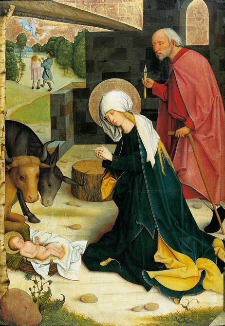 Die Geburt Christi Um 1500 Vom Meister Des Pfullendorfer Altars Stadel Museum Frankfurt Am Main Geburt Christi Jesus Geburt Geburt
