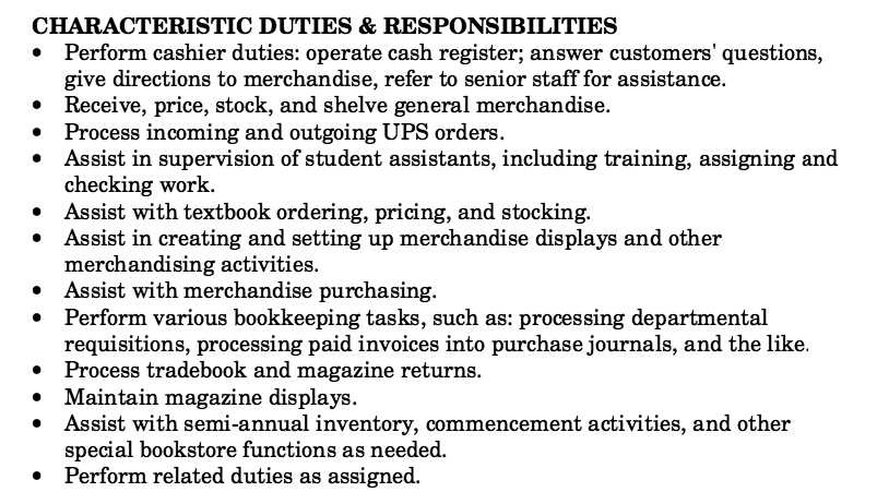 bookstore clerk responsibilities and duties anyway perform cashier duties. Resume Example. Resume CV Cover Letter