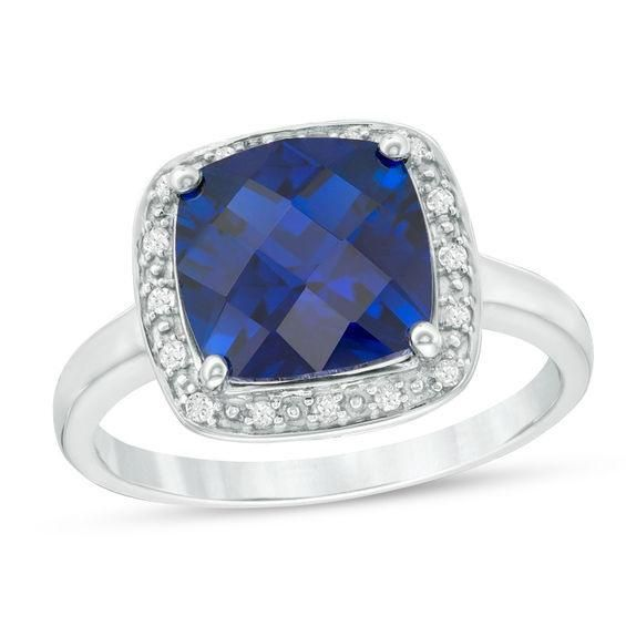 Zales Cushion-Cut Lab-Created Blue Sapphire Bar Ring in 10K Gold Ta9YpJce