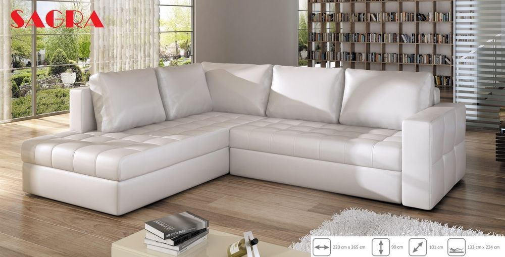 New LEATHER Corner Sofa Boston WHITE GREY BROW BLACK FABRIC 2 3 ...