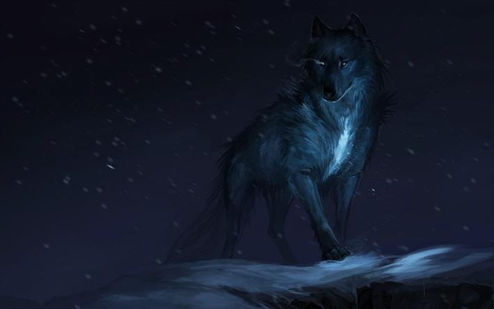 Herunterladen hintergrundbild wolf, 4k, dunkelheit, winter