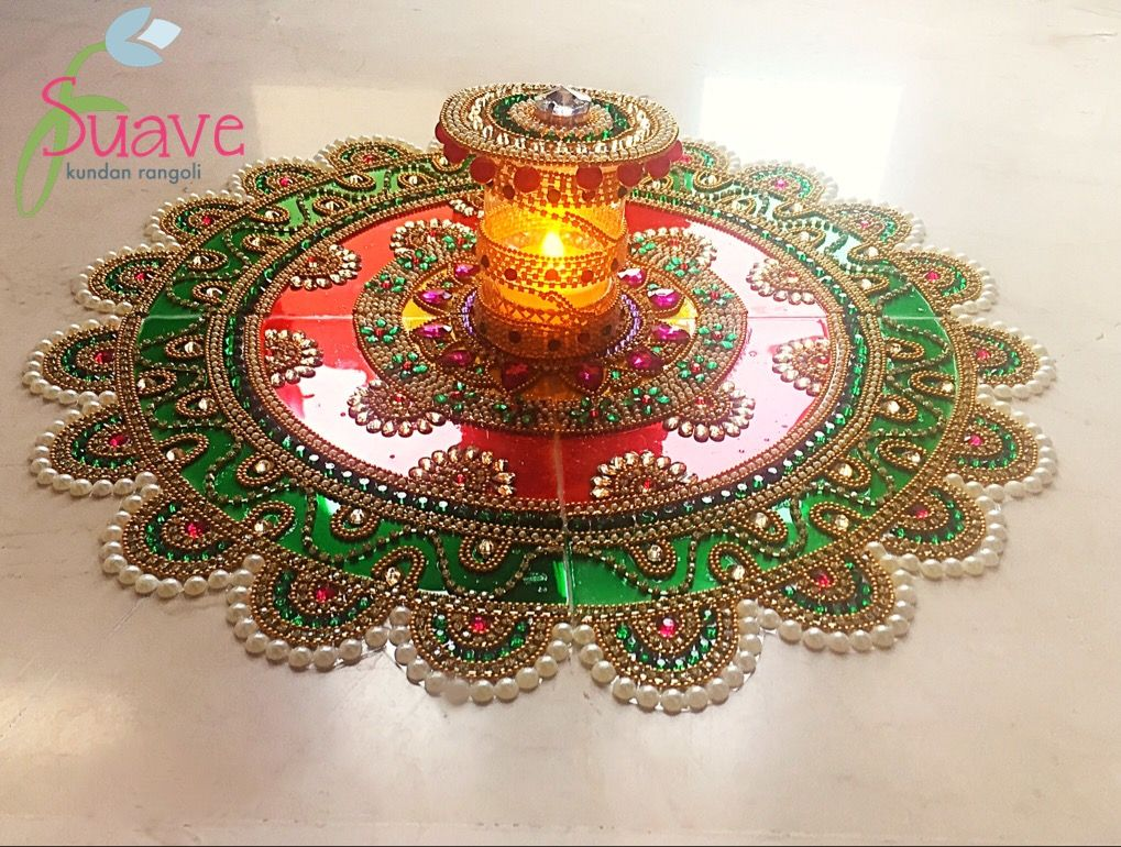 Red And Green Kundan Rangoli Decorated With Kundan Stones And Pearl New Decorative Rangoli Designs With Stones And Kundans