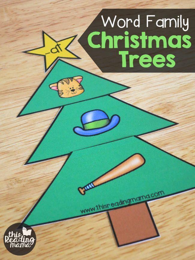 Short Vowel Word Family Christmas Trees   Short vowels, Family ...