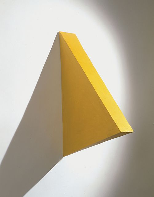 Available for sale from Cosmocosa, Eduardo Costa, Volumetric Painting of a Yellow Triangle (2000), Solid acrylic paint., 76 × 104 × 16.5 cm