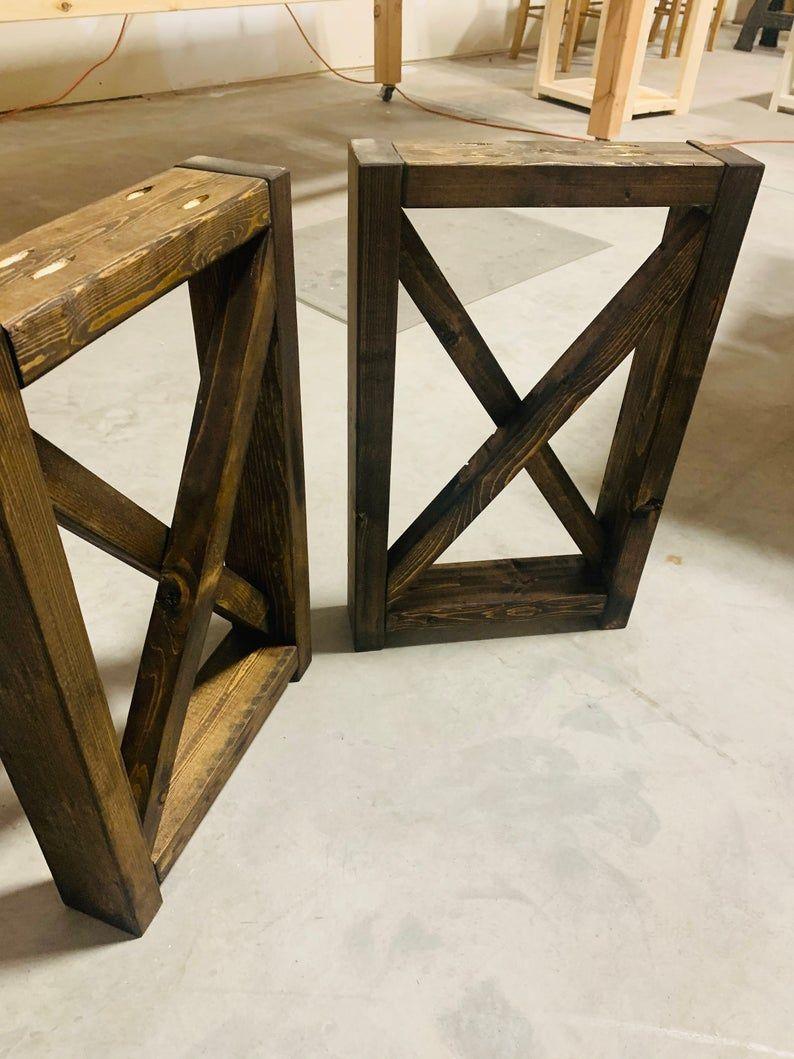 Rustic Tall Farmhouse Square Bench Legs With X Dark Walnut Diy