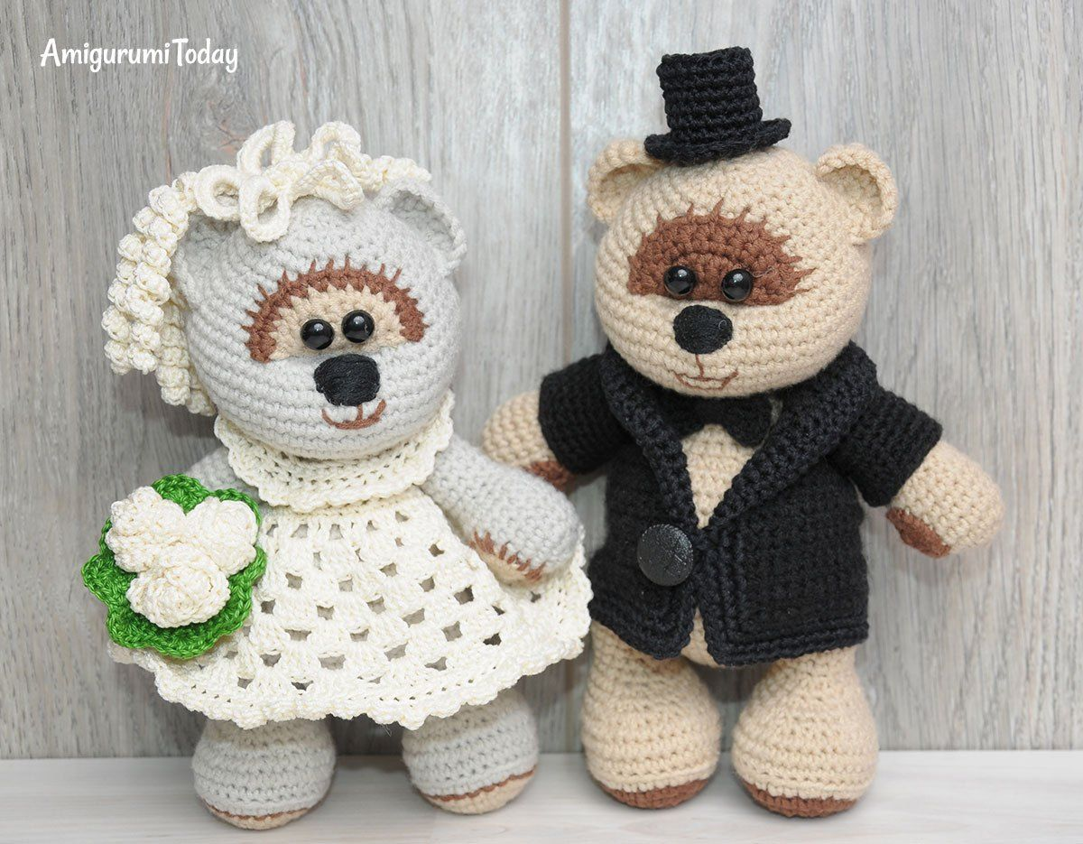 Honey teddy bears in love: crochet pattern | Crochet teddy bear ... | 935x1200