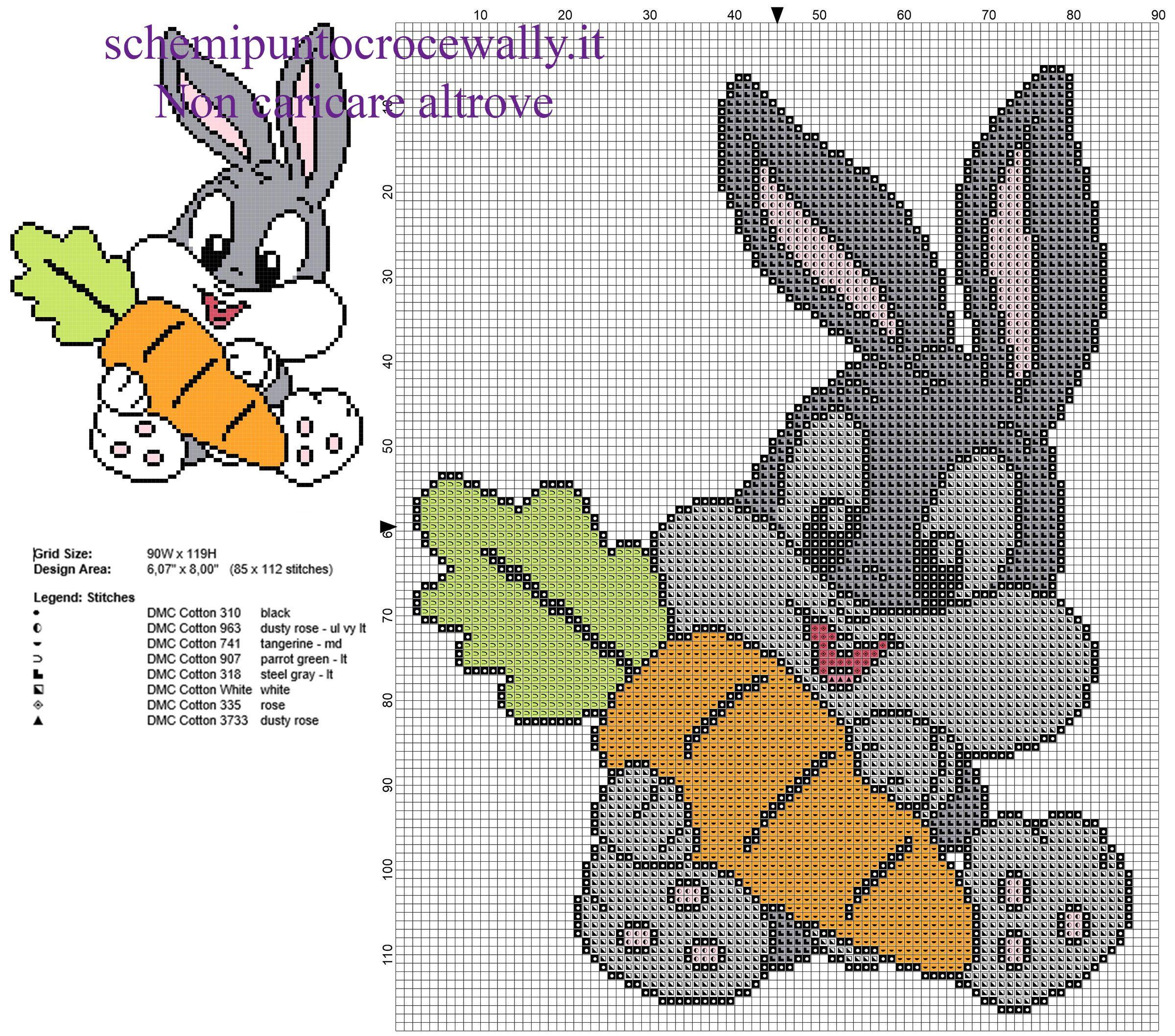 Baby Bugs Bunny con carota personaggio Looney Tunes schema punto ...