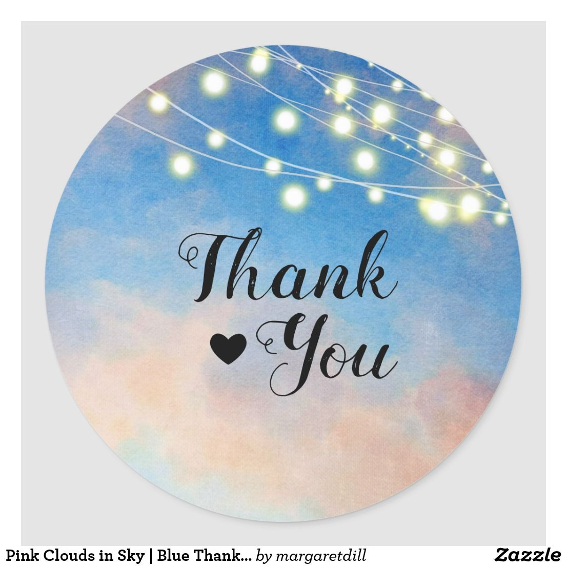 Pink Clouds In Sky Blue Thank You Classic Round Sticker Zazzle Com Pink Clouds Thank You Wallpaper Blue Sky