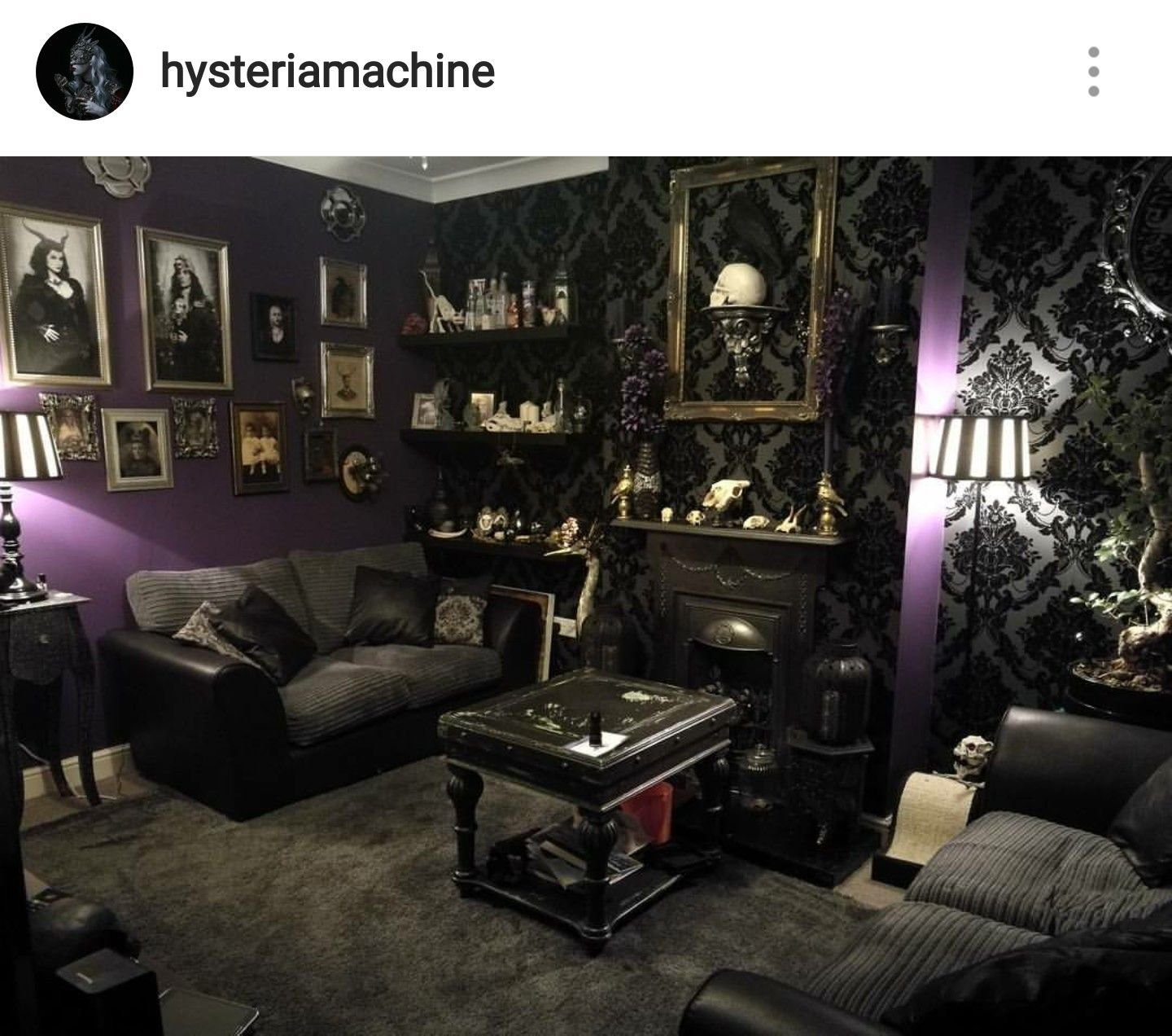 Grey damask and purple goth living room | Home Decor ...