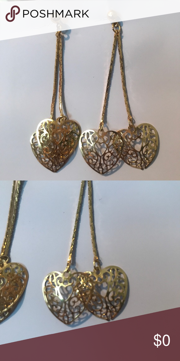 Vintage Gold Filagree Drop Heart Earrings Vintage 14k gold