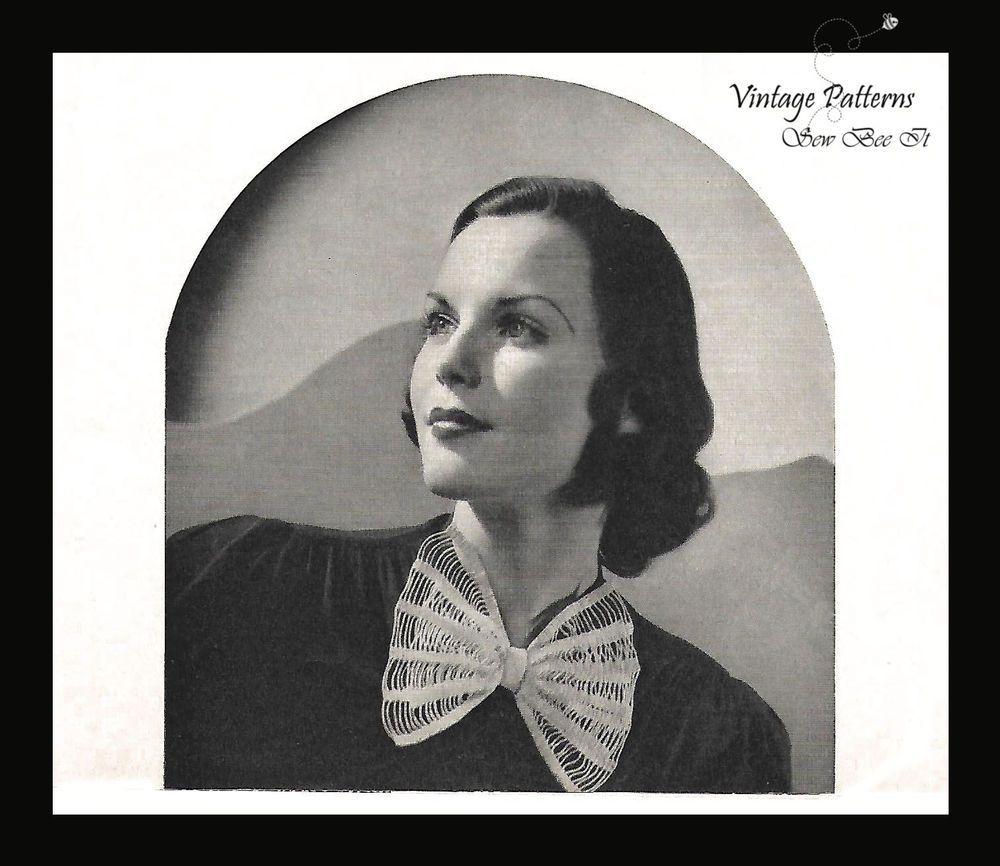 1930's Beau Tie Vintage Crochet Pattern Women's Bow Collar Rare PDF Wartime #BeauTie