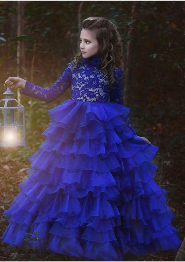 Royal Princess  Kids Formal  Patchwork Ball Gown Flower Girl Dresses