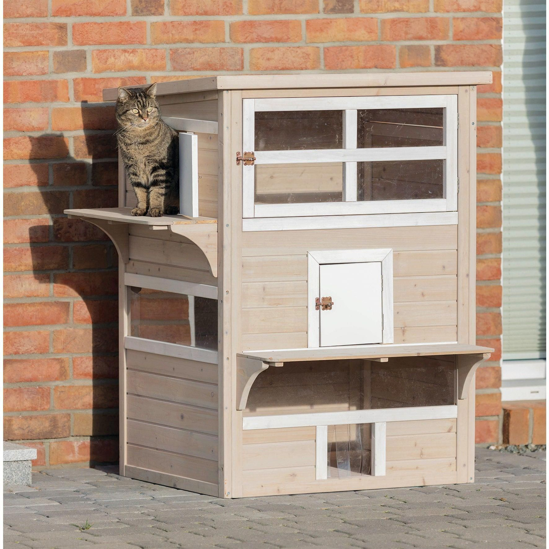 Trixie Pet Products Grey White Wood Xxl Three Story Outdoor Cat