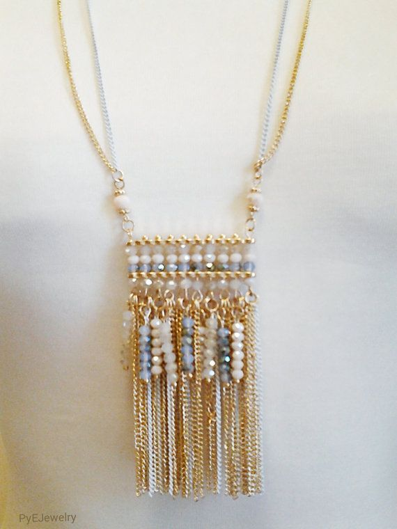 Gold and White Chain Long Necklace / Beige and Blue Crystal Beads ...