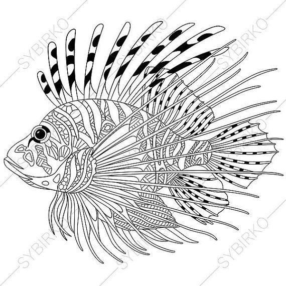 Adult Coloring Pages Fish Lionfish Zentangle Doodle