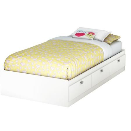South Shore Sparkling Twin Mates Bed Bookcase Headboard White