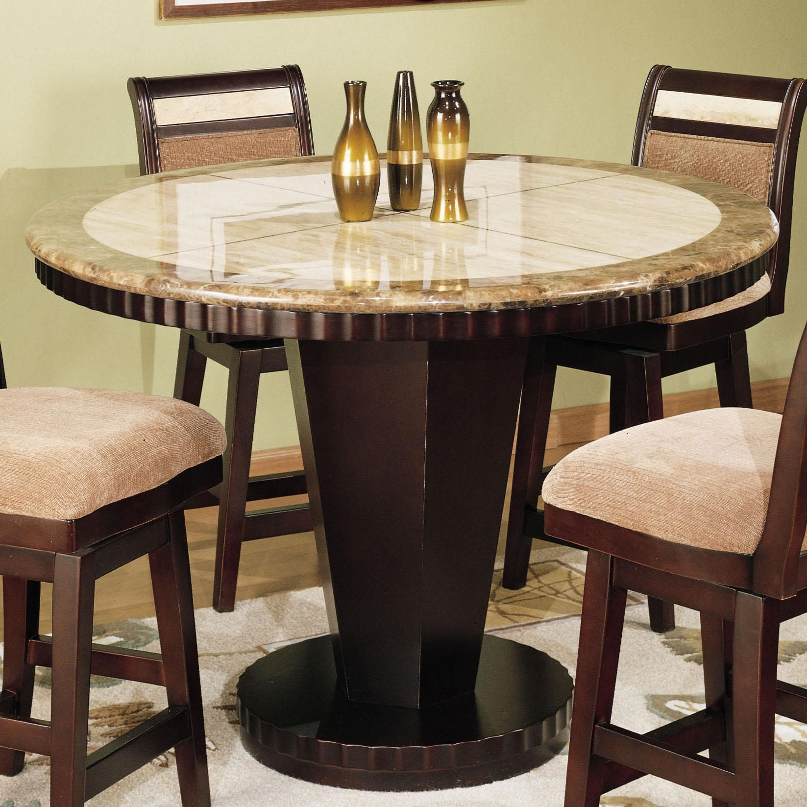 Corallo Dining Round Stone Top Counter Height Dining Table By Armen Living At Olinde S Kitchen Table Settings Counter Height Kitchen Table Dining Table Chairs