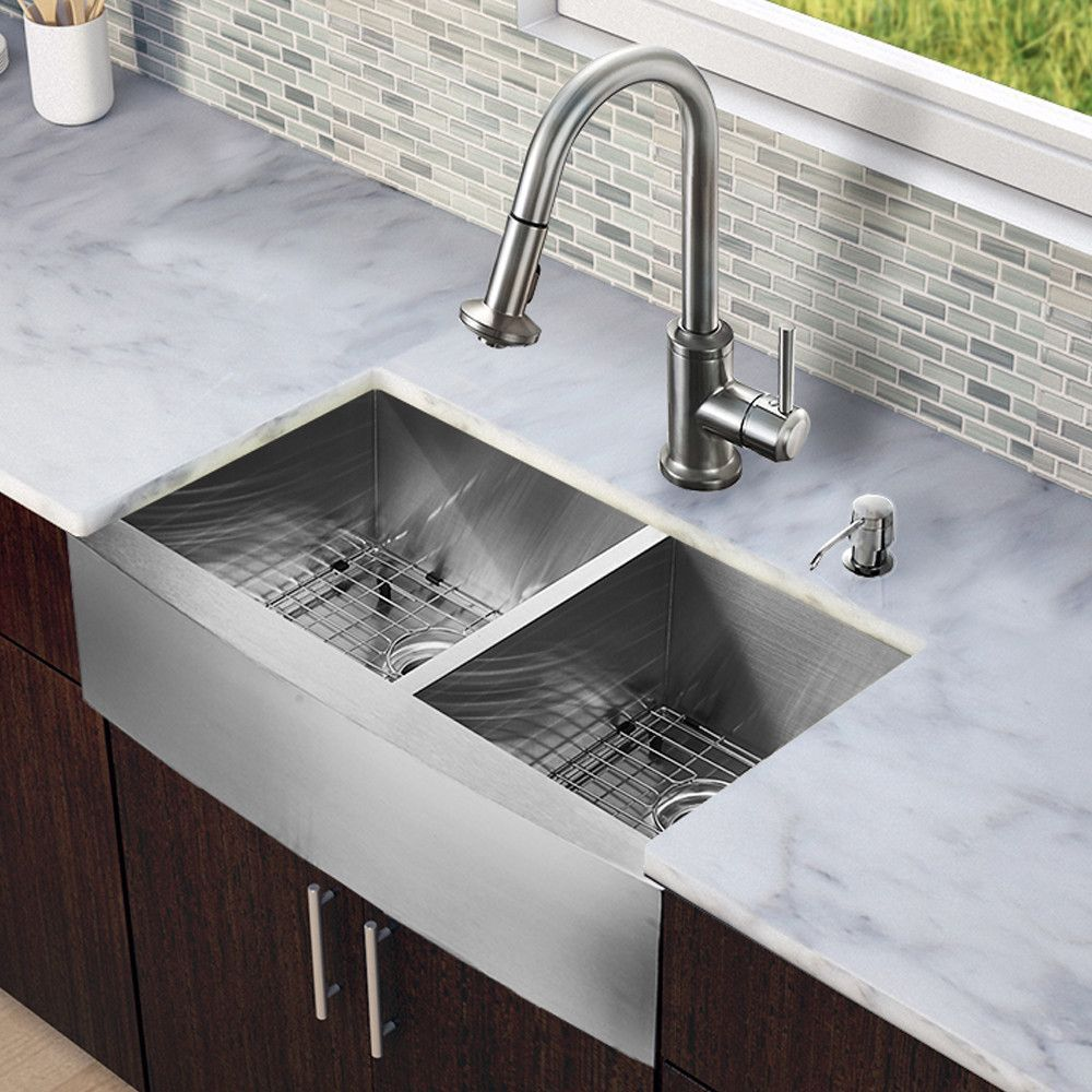 Vigo All In One 33 Inch Farmhouse Stainless Steel Doubl With Images Farmhouse Sink Kitchen Stainless Steel Double Bowl Kitchen Sink Stainless Steel Farmhouse Kitchen Sinks