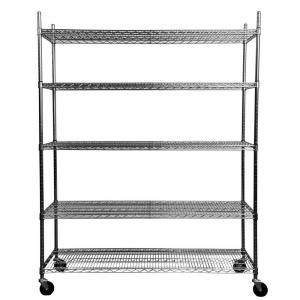 5 tier Heavy Duty Commercial Chrome Silver Wire Shelving Rack Kitchen Garage