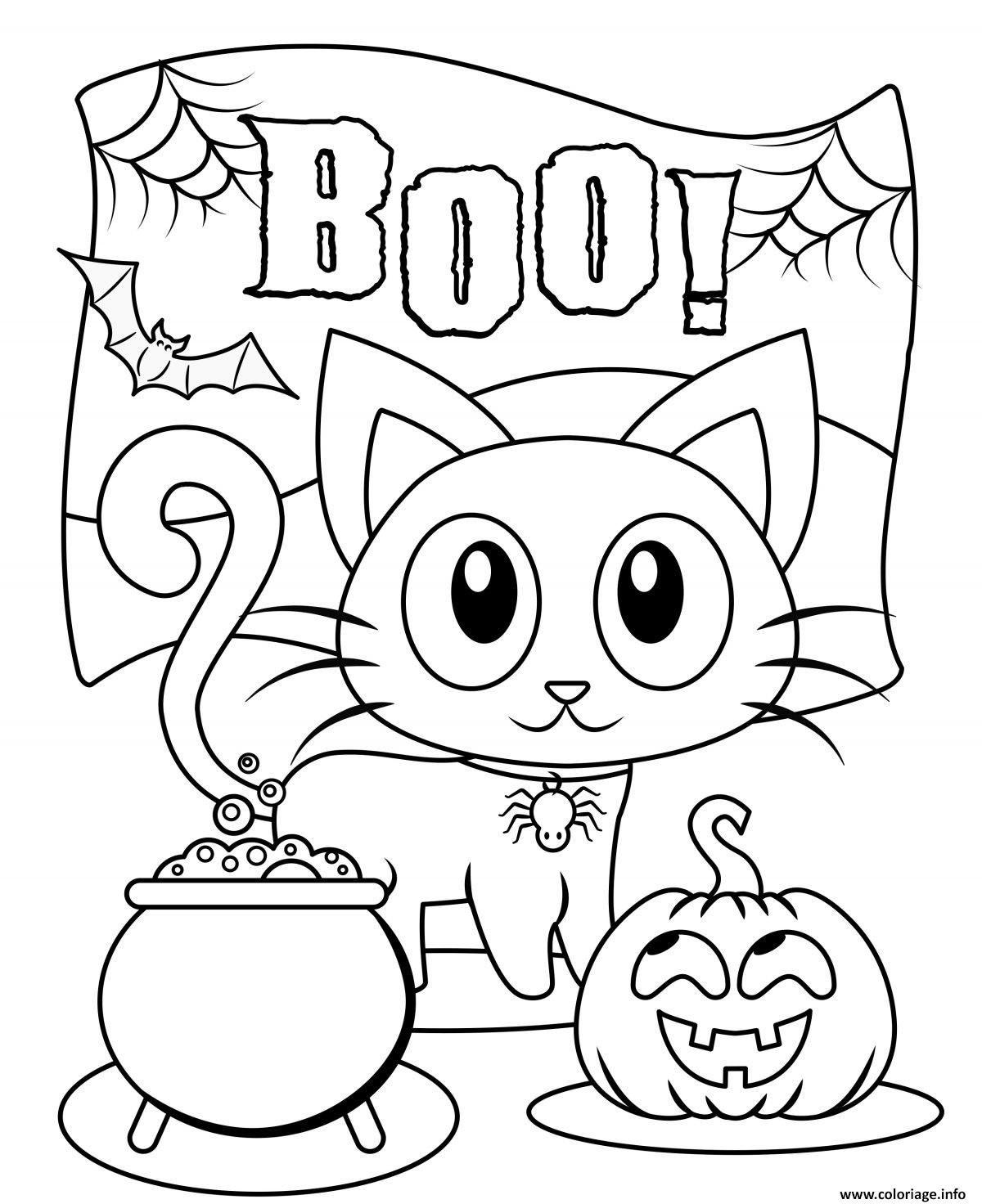 Coloriage Halloween Boo Chat noir citrouille à imprimer