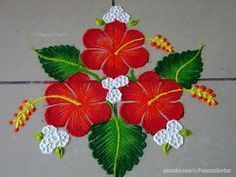 Easy Hibiscus flower rangoli | Easy rangoli designs by Poonam Borkar