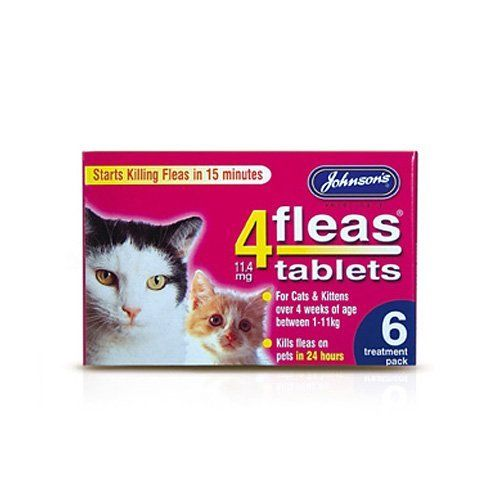 Johnsons 4 Fleas Tablets For Cats And Kittens X 6 Tablets 50g Bulk Deal Of 6x Cats And Kittens Cat Fleas Fleas