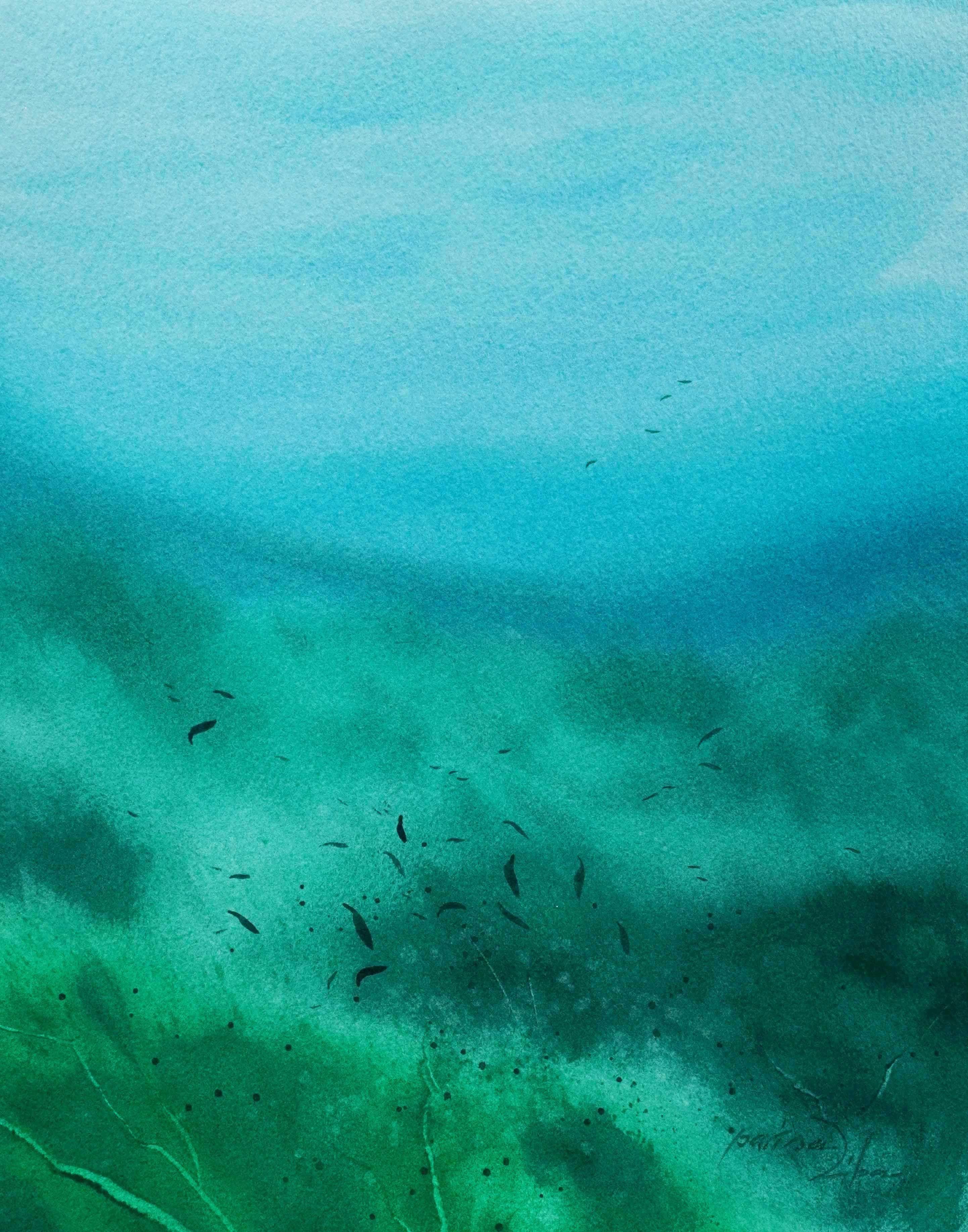City Under Water 8x10 Original Watercolor Painting