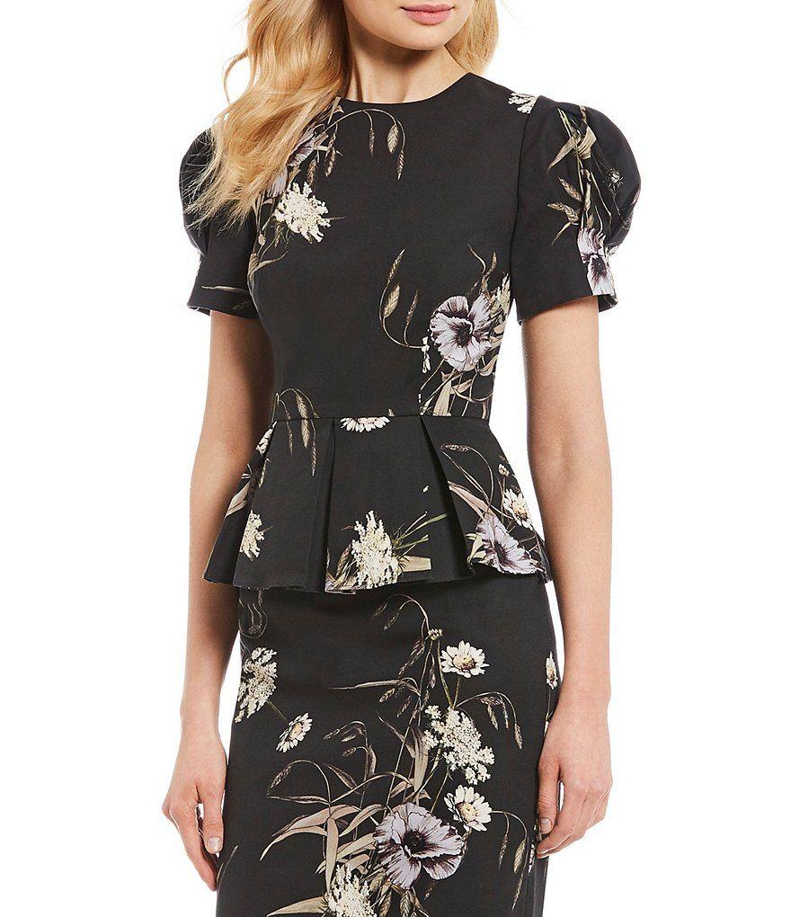 3113d5fcdc81 Antonio Melani · Clothes · Peplum Blouse, Dillards, Floral Prints, Short  Sleeve Dresses, Zipper, Shoulder,