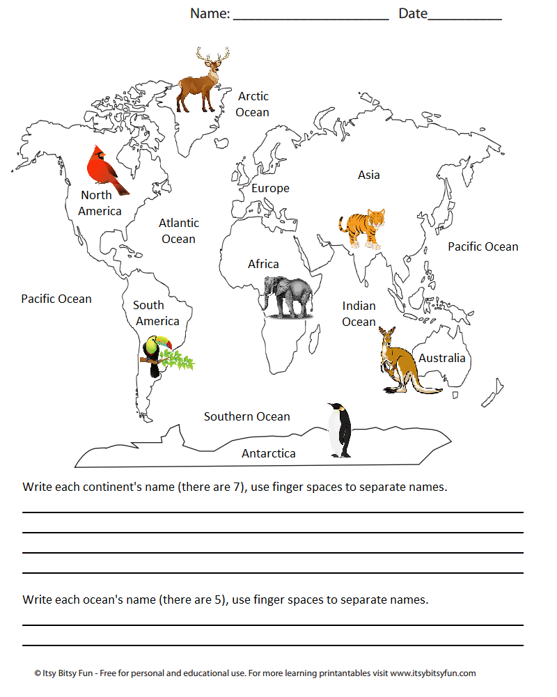 Continents and Oceans Map, Kindergarten Geography First Grade ...