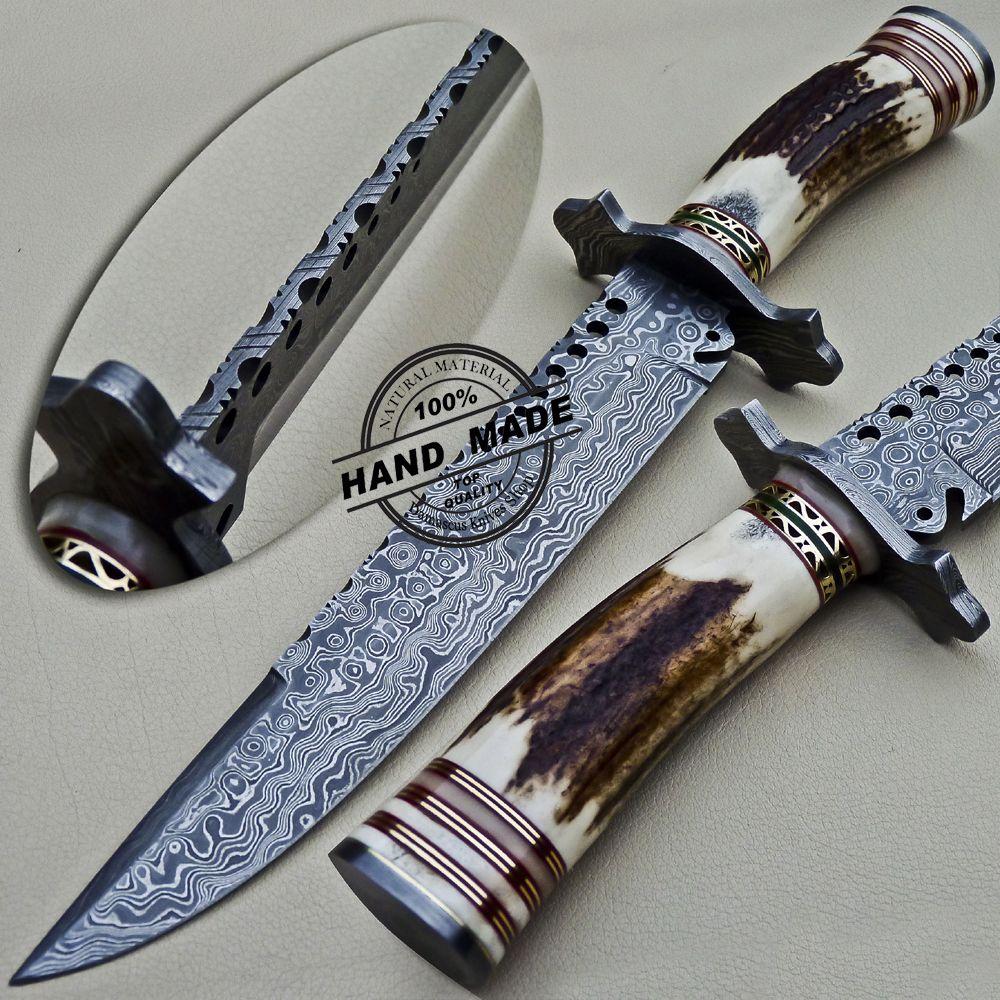 Damascus bowie knife custom handmade damascus steel