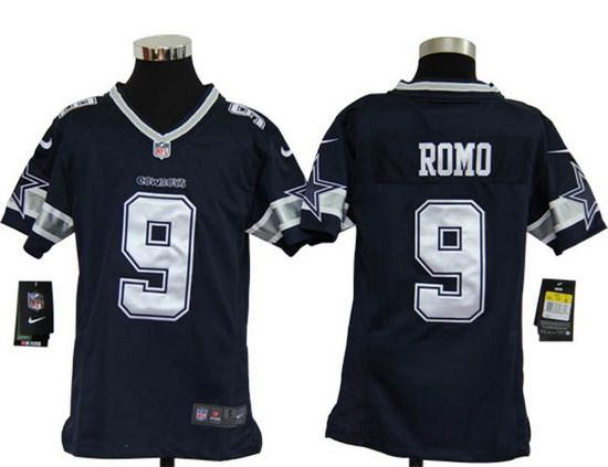 Nike Cowboys  9 Tony Romo Navy Blue Team Color Youth NFL Game Jersey ... 3cb78560d