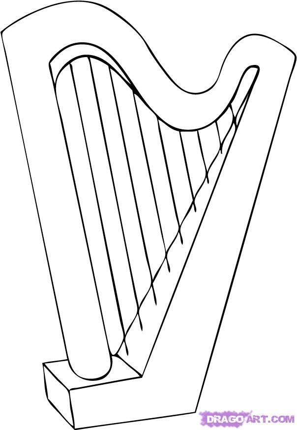 Harp Instrument Drawing Musical Instruments Drawing Harp Drawings