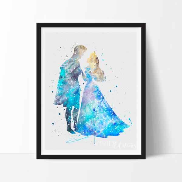 Princess Aurora & Prince Phillip Watercolor Art Print | Princesas