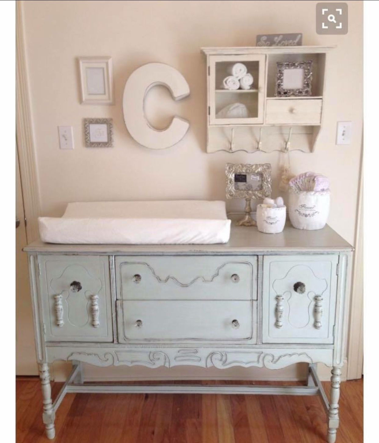 Shabby Chic Nursery Buffet Converted To Changing Table