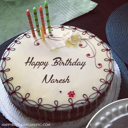 Candles Decorated Happy Birthday Cake For Naresh With Name Naresh