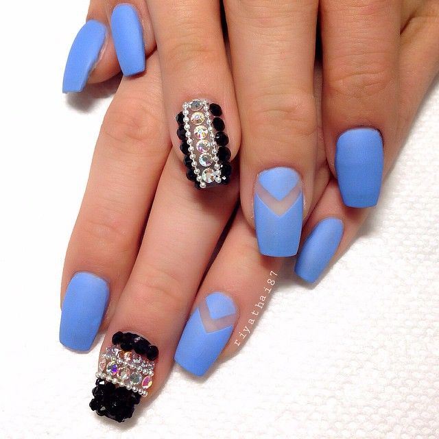 Matte blue coffin nails with bling accent nail | Nails I Admire ...