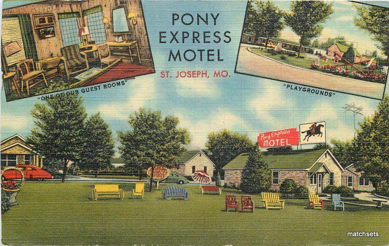 Details about 1951 pony express motel roadside st joseph