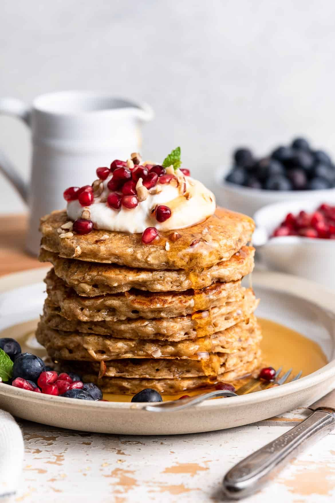 Oatmeal Pancakes Overnight Oatmeal Pancakes Kitchen Confidante Recipe In 2020 Oatmeal Pancakes Clean Eating Desserts Pancakes
