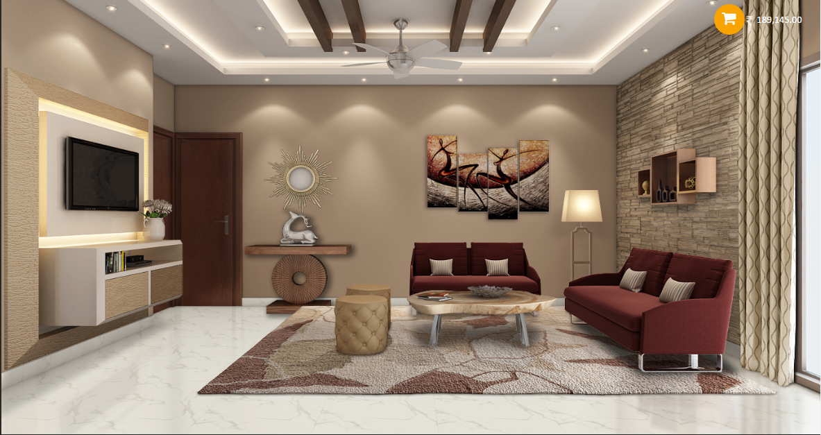 modern sleek living room with rich colors like maroon and