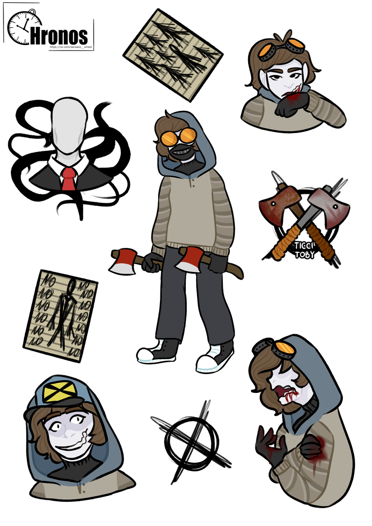 Stickers with Ticci-Toby and Slenderman by booozzerd | Toby
