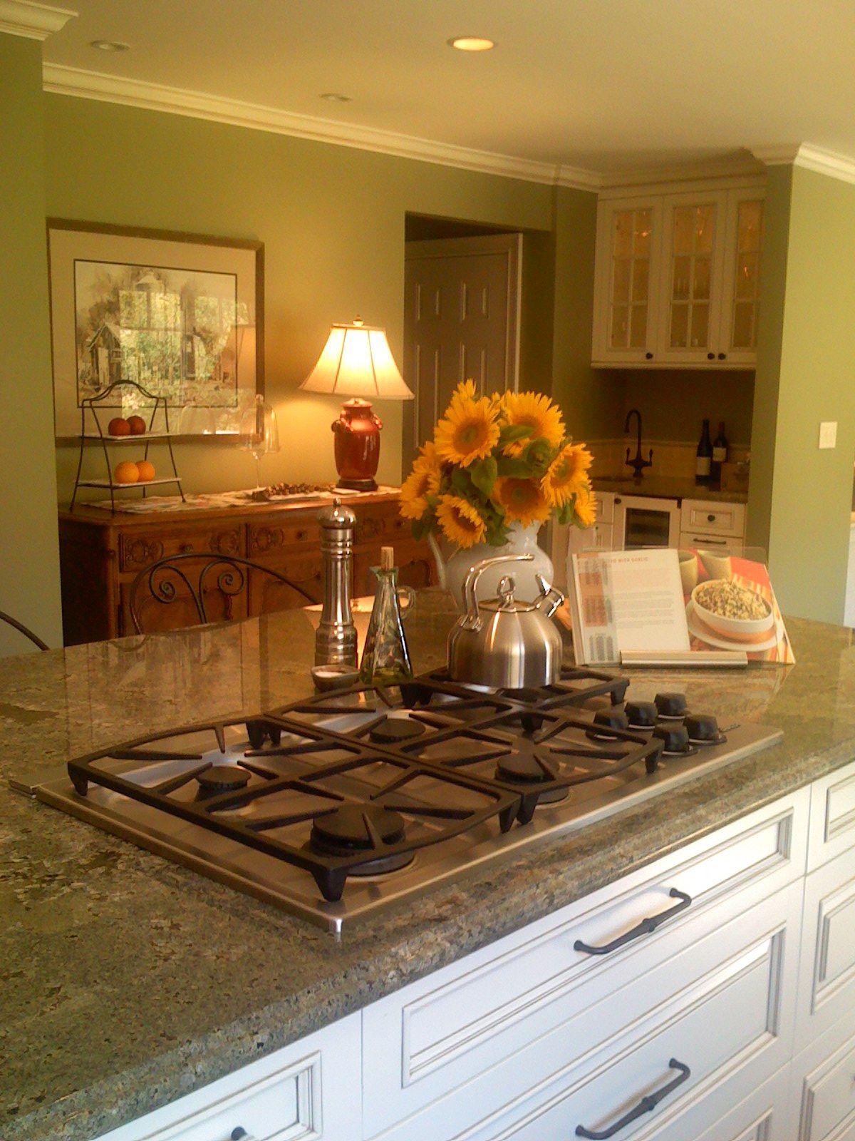 Green Walls And Warm Granite Kitchen Wall Color Home Decor