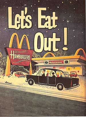 Ad. 1960s hamburgers for $.25!  McDonalds