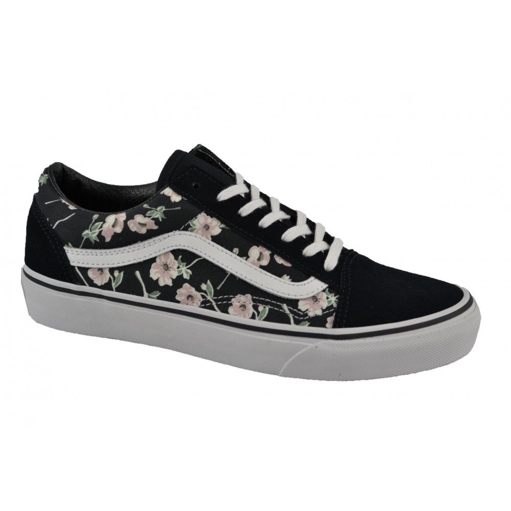 zapatillas vans mujer negras con rosas
