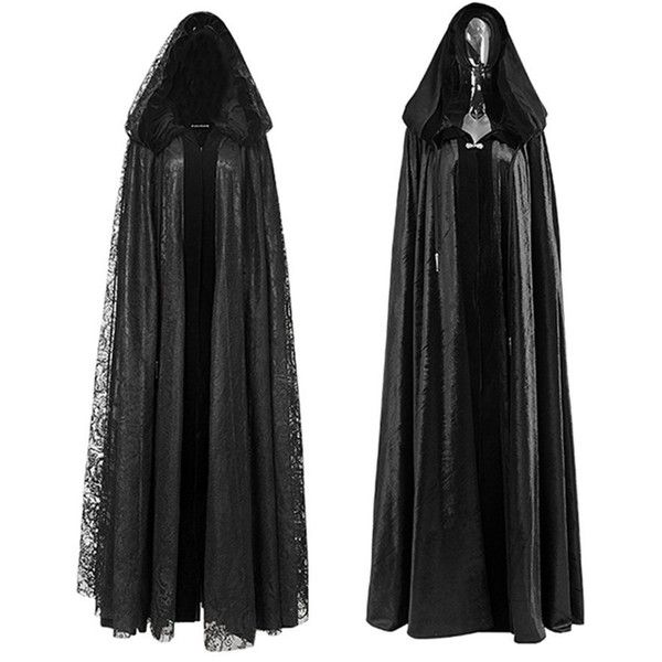 Gothic Priestess Lace Coat Steampunk Holloween Womens Costume Cape ($55) ❤ liked on Polyvore featuring coats